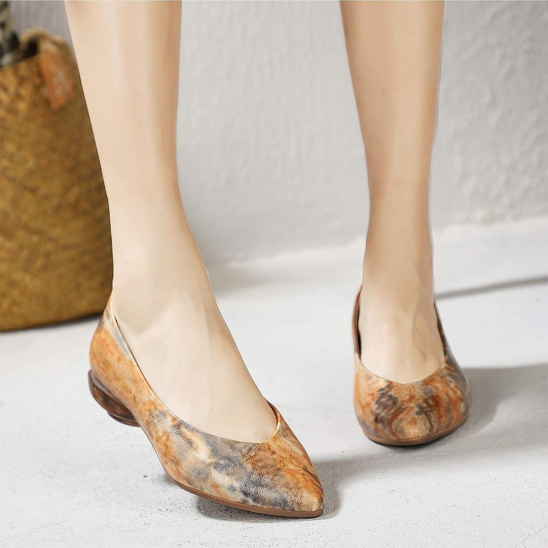 Damen Schuhe Vintage Dicke Absatz Pumps Court Schuhe Damen aus echtem Leder mit Spitzen Zehen lässiger mit niedriger Ferse Slip on Schuhe Frühling und Sommer 6ba212