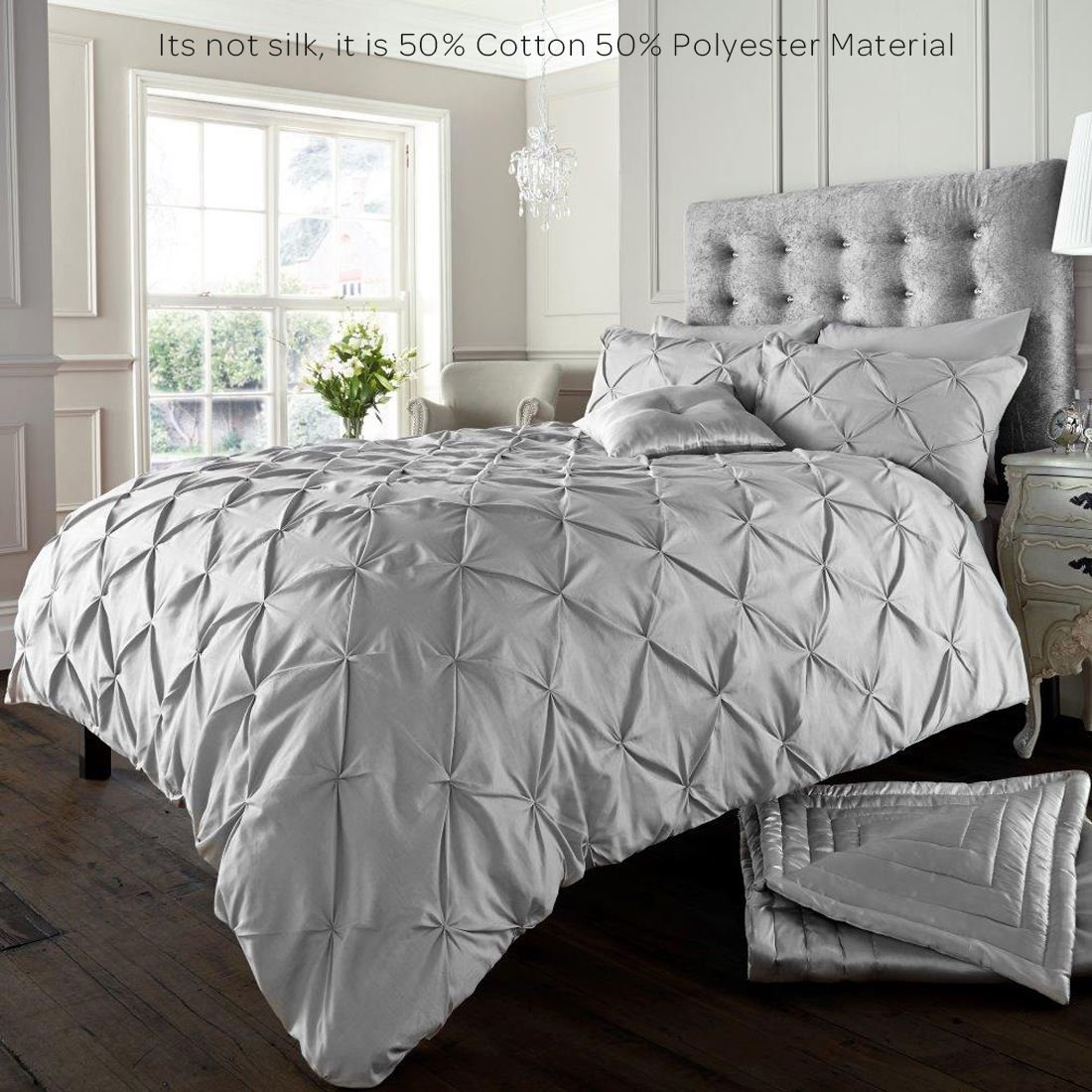 Alford Duvet Cover With Pillowcase Quilt Cover Bedding Set Silver