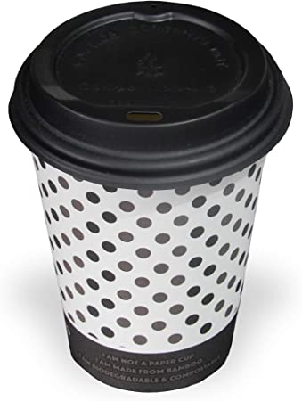 Pack of 50 10oz (284ml) Compostable and Biodegradable Bamboo Disposable Paper Coffee Cups with Sip Lids and Free Wooden Stirrers