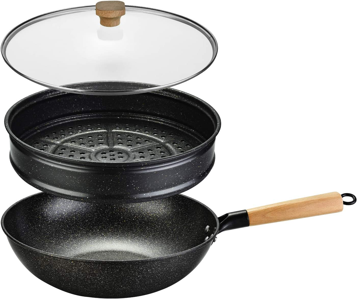Nonstick Woks and Stir Fry Pans With Lid, Steam Rack, Wok Pan With Lid, Ceramic Wok with Lid, Nonstick Frying Wok Flat Bottom, Induction Compatible