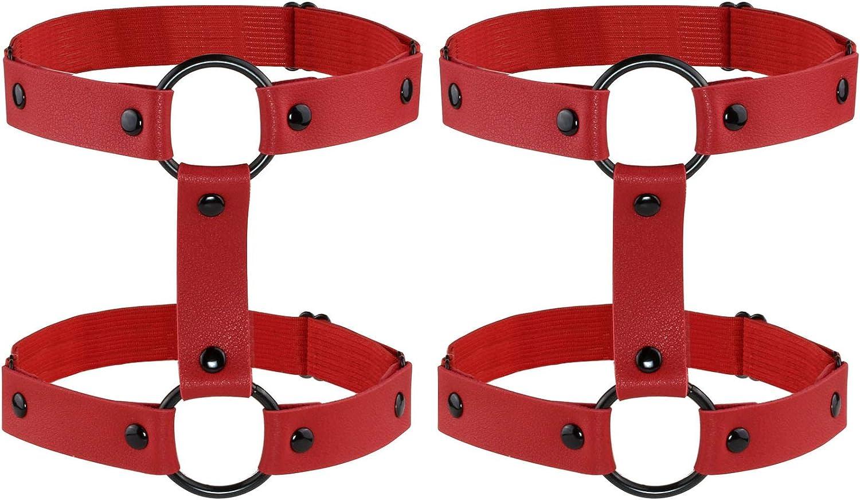 JJDreams 2pcs Gothic Double Row Punk Elastic Adjustable Leg Garter Belt Harness Set