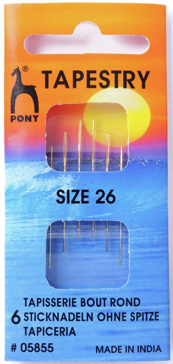 PACK OF 6 PONY SIZE 18 24 TAPESTRY HAND SEWING NEEDLES BLUNT TIP GOLD EYE