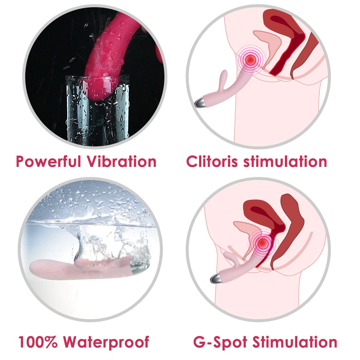 SVAKOM Alice 100% Waterproof Intelligent Clitoris G-spot Rabbit Vibrator Rechargeable(Pale Pink)