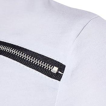 Camiseta para Hombre, Xinan Camiseta de Manga Corta de algodón Irregular para Hombre Blusa de Corte Slim de Cobertura (S, Blanco): Amazon.es: Ropa y accesorios