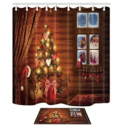 NYMB Christmas Shower Curtains Santa Is Out The Window 69X70in Mildew Resistant Polyester Fabric