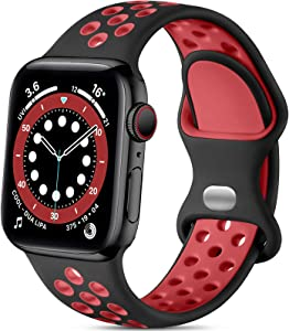 Lerobo Bands Compatible with Apple Watch Band 44mm 42mm , Cute Breathable Soft Silicone Sport Replacement Wristband Compatible with iWatch SE Series 6/5/4/3/2/1 for Women Men, Black/Red, M/L