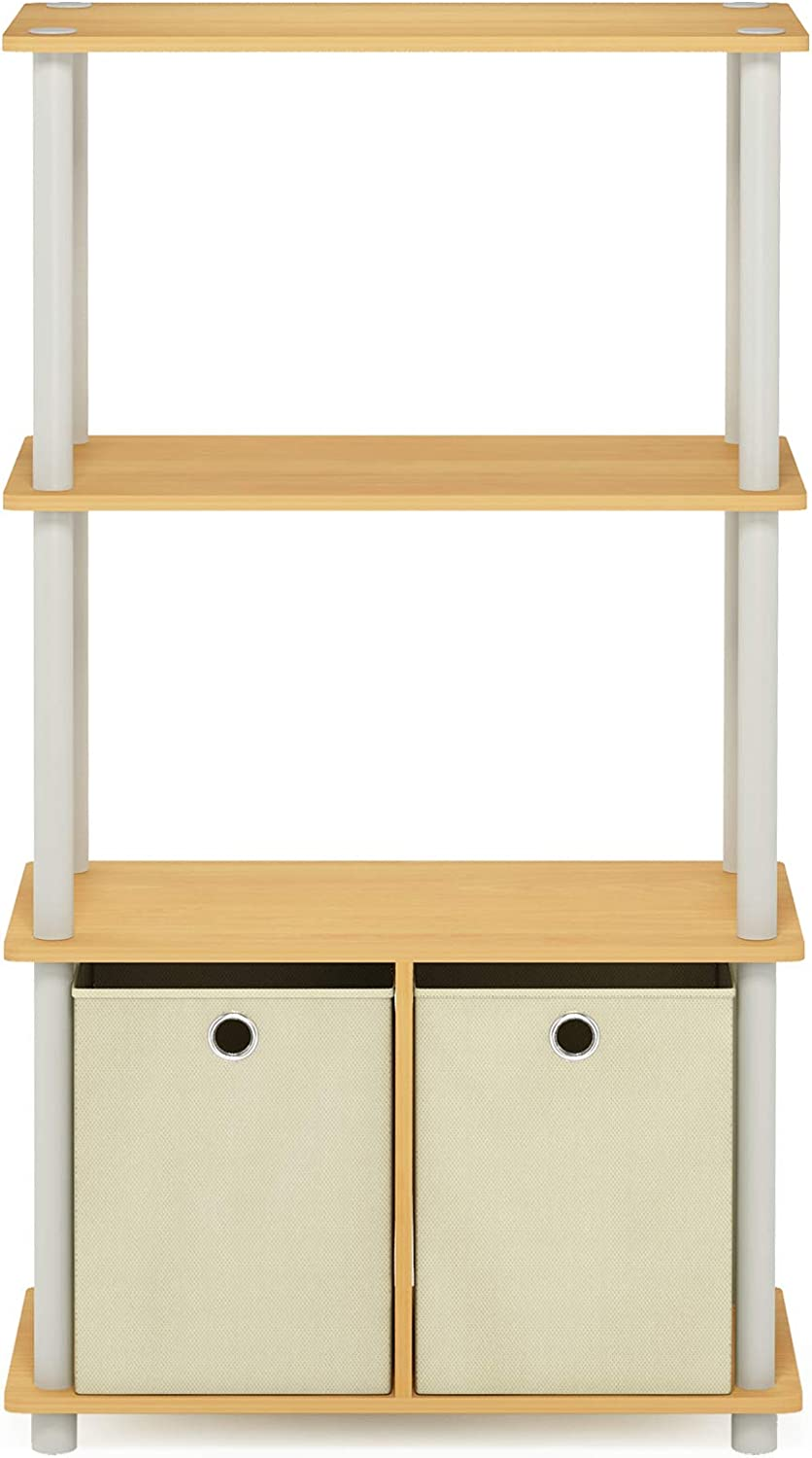 Furinno NW889BE/WH Go Green 4-Tier Multipurpose Storage Rack w/Bins, Beech/White: Kitchen & Dining