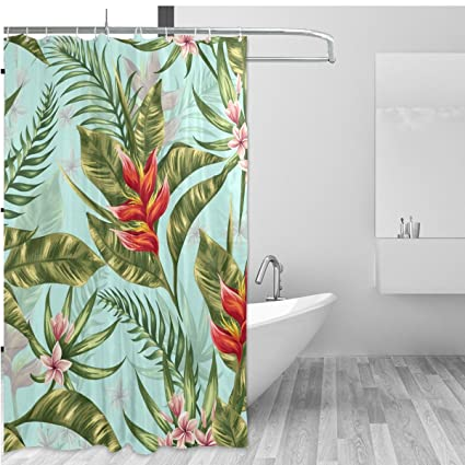 Amazon.com: ALAZA Tropical Theme Home Decor Shower Curtain Set By ...
