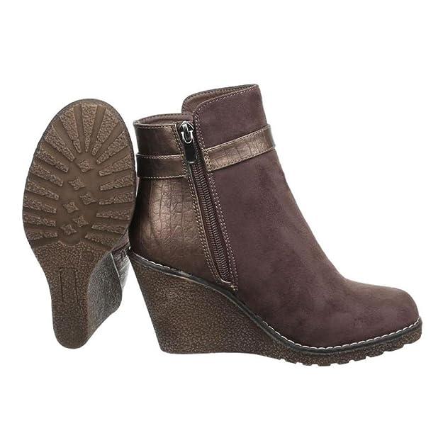 Cingant Woman Damen Keilstiefeletten/Stiefeletten/Wedge Keilabsatz/Damenschuhe/Boots/Khaki/Braun, EU 38