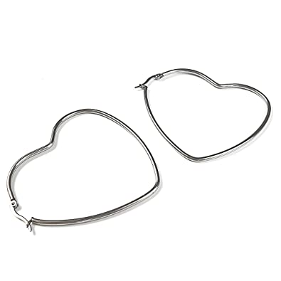 Amazon.com: Pendientes de aro de plata con forma de corazón ...
