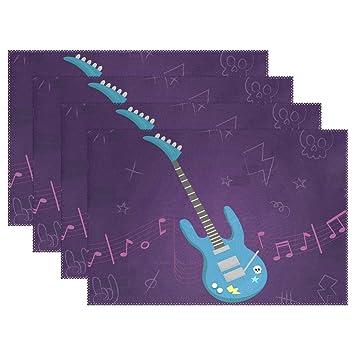 MUMIMI Manteles Individuales para Guitarra Eléctrica (Resistentes al Calor, Antideslizantes, Lavables, 1 Pieza), Multicolor, 12x18inch: Amazon.es: Hogar