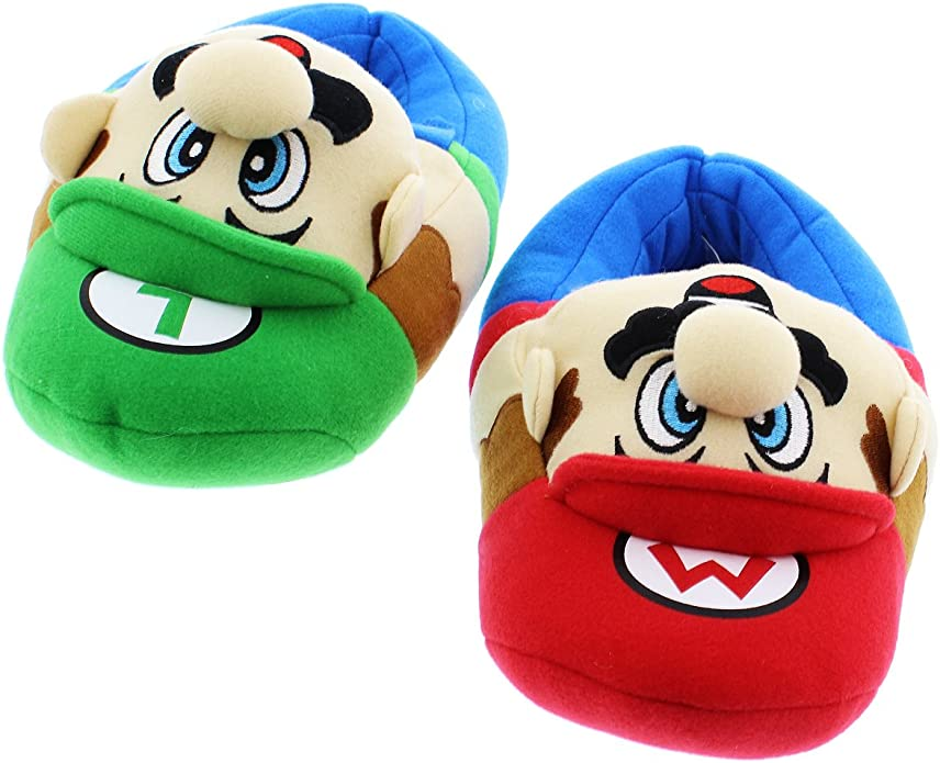 1 Pair Cartoon Winter Luigi Mario House Indoor Warm Slip Cotton Slippers
