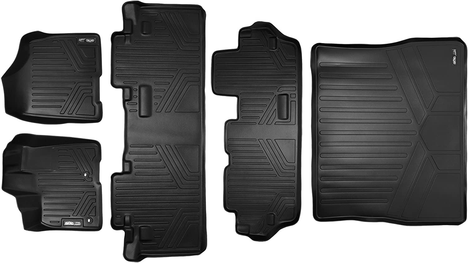 2 Rows All Weather Floor Mats Set and Cargo Liner Bundle Sienna 8 Seats Black