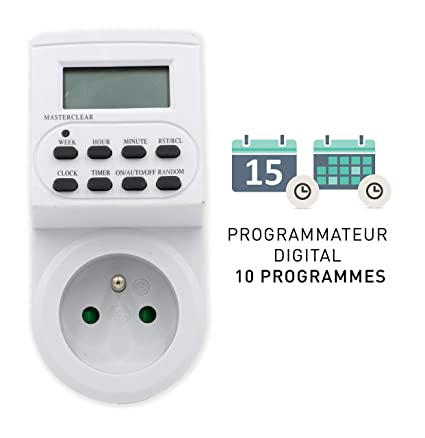 Tibelec Programmateur DigitalBlanc Prise Journalierhebdomadaire 564210 TKF1clJ