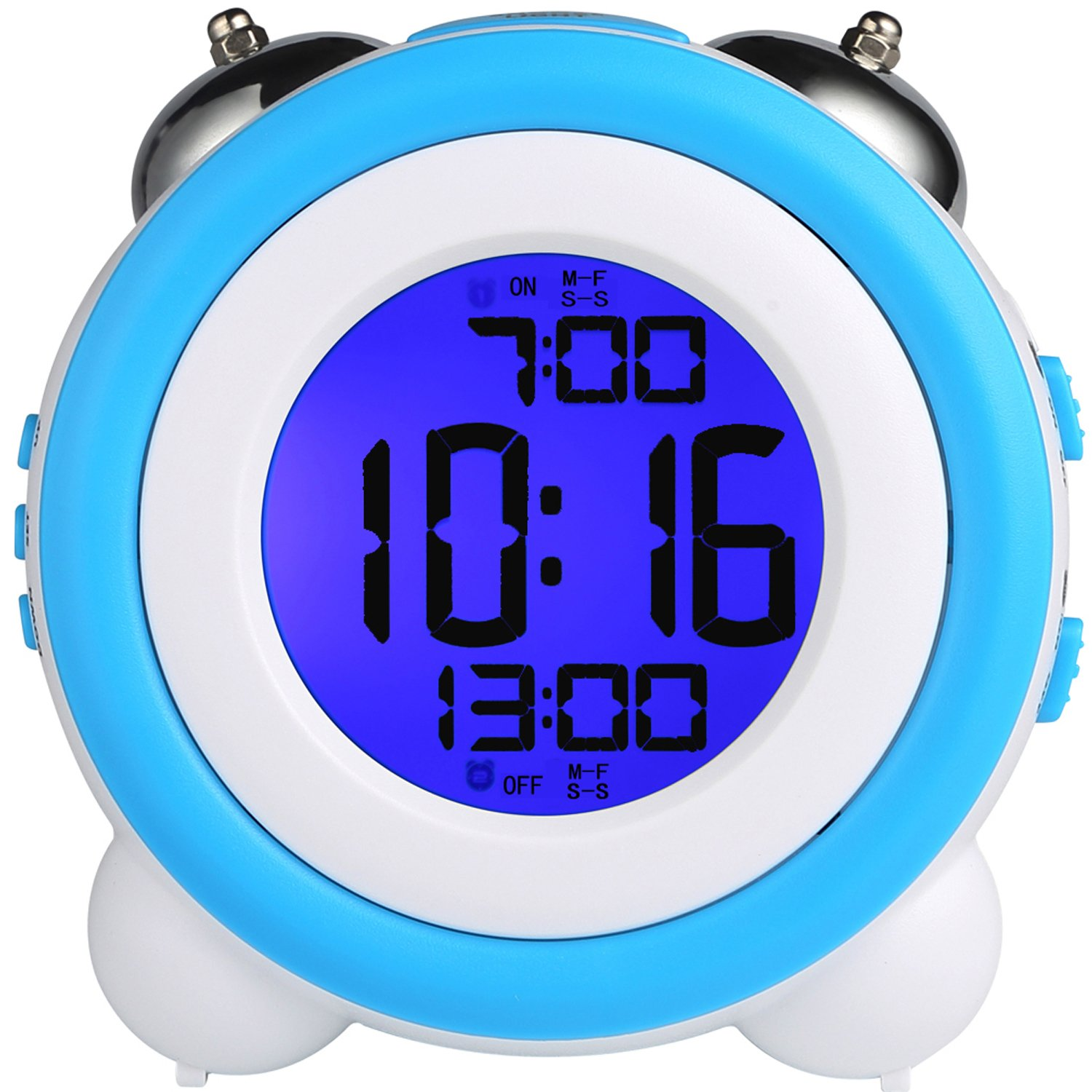 YOUOWO Digital Dual Alarm Clock Loud Alarm Clock Twin Bell Kids Small Clock Large Display with Snooze and Night Light Battery Operated Easy to Set for Heavy Sleepers Bedrooms Desk Travel by YOUOWO