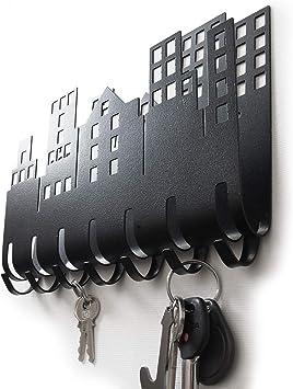 New 7 Hook Wall Mount Key Holder White And Chrome Hanger Rack Organizer Storage