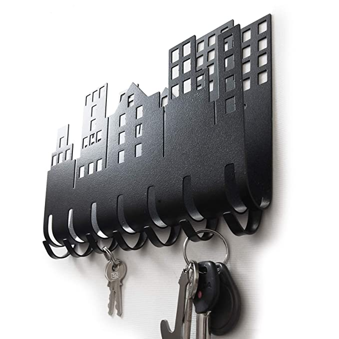 Home Key Mail Letter Postcard Holder for Wall (7-Hook Rack) Decorative, Metal Hanger for Front Door, Kitchen, or Garage | Store House, Work, Car, ...