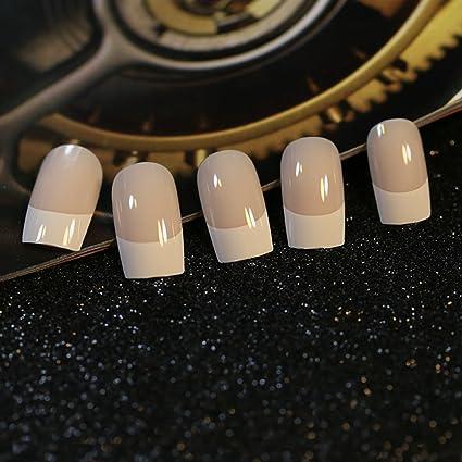 24 uñas postizas de color beige con estilo francés en color blanco, de EchiQ,