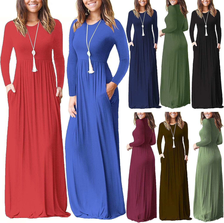 ZIOOER Women Casual Loose Long Plain Maxi Dresses Pockets Dresses