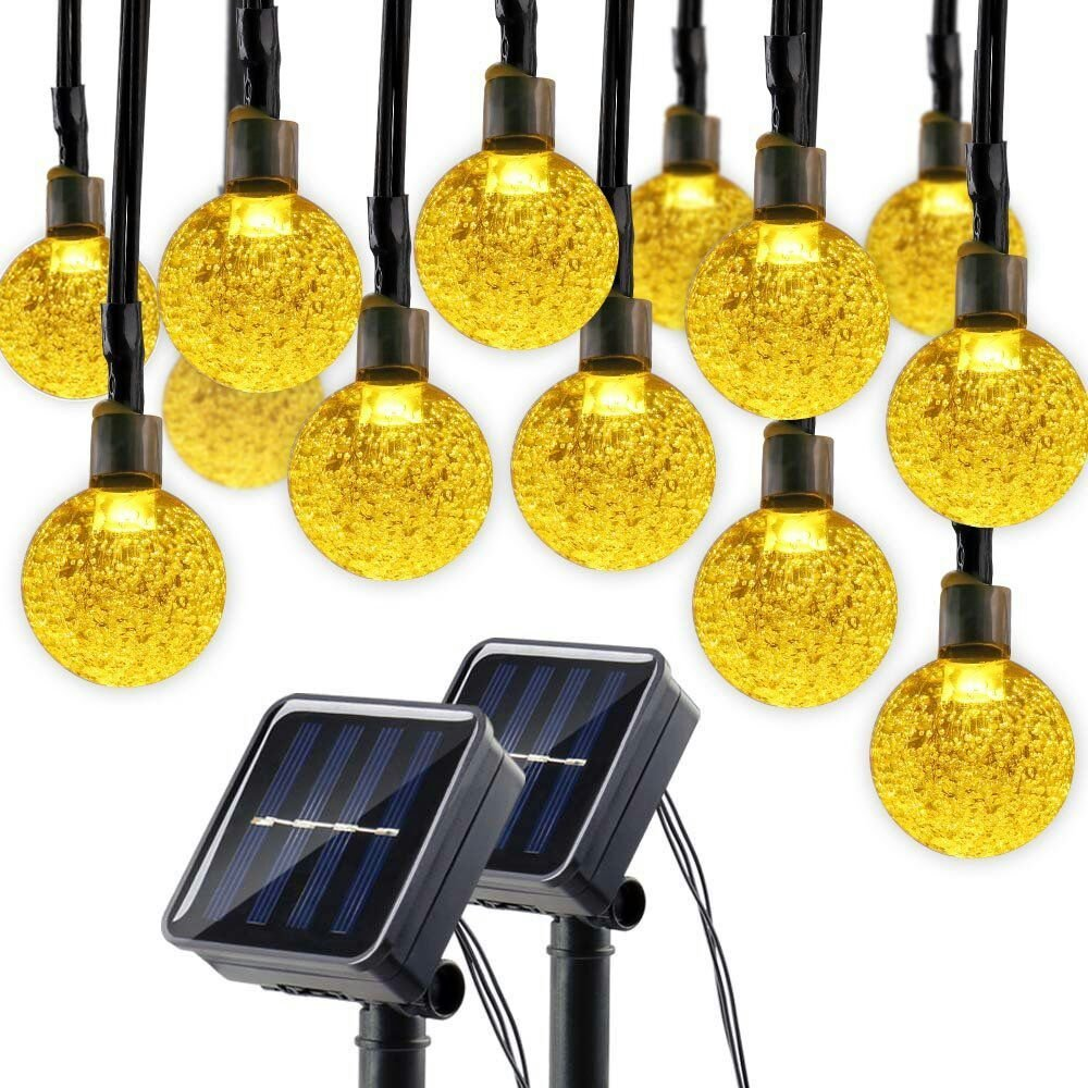 Lumitify 2 Pack Globe Solar String Lights, 19.7ft 30 LED Fairy Crystal Ball Outdoor Decorative Lights(Warm White)