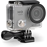 TecPlus Full HD 1080P Wi-Fi 12 MP 140 Degree Wide Angle Lens Waterproof 30 m Helmet Camera Sports Action Camera with Mounting Accessories Kit for Cycling/Surfing/Climbing - Silver
