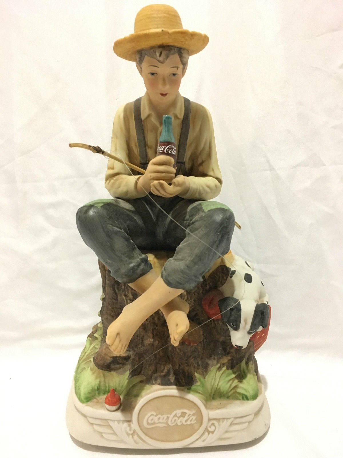 Coca Cola Melody in Motion Norman Rockwell ''Gone Fishin'' Boy. Figurine