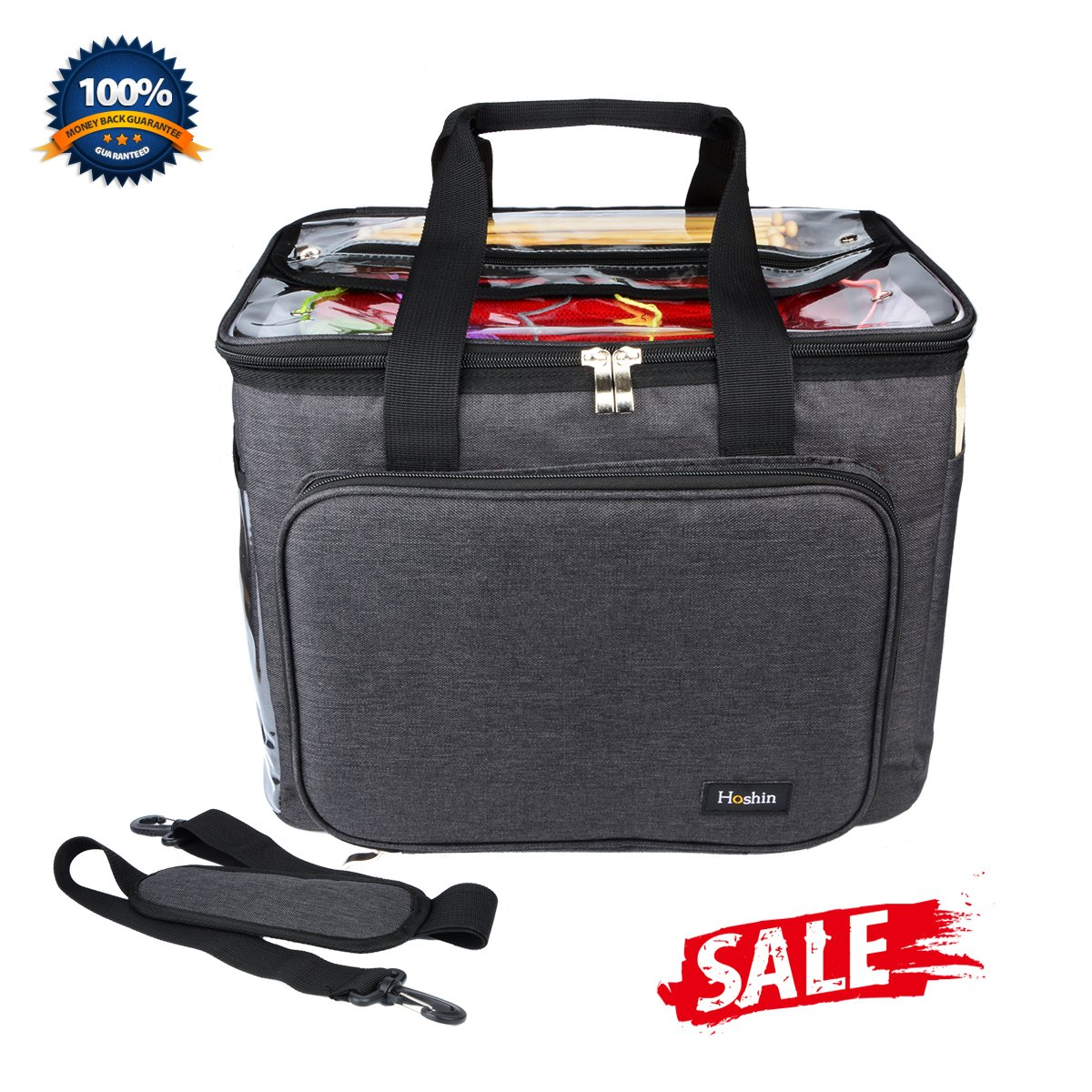 Hoshin Knitting Bag for Yarn Storage, High Capacity Yarn Totes Organizer with Inner Divider Portable for Carrying Project, Knitting Needles(up to 14''), Crochet Hooks, Skeins of Yarn (Black) by Hoshin (Image #1)