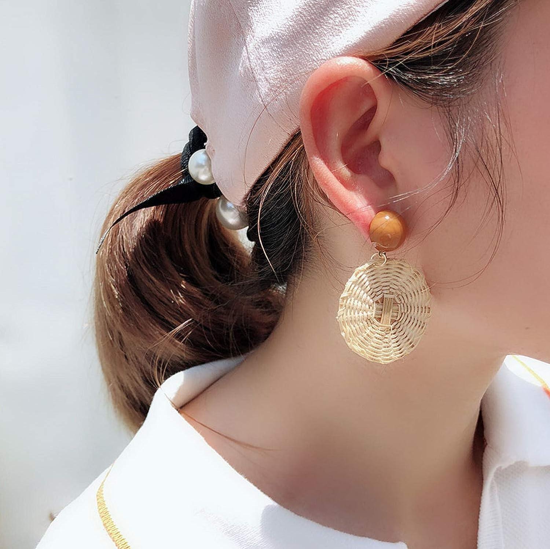 2019 New Korea Handmade Wooden Straw Weave Rattan Vine Braid Big Circle Square Long Drop Earrings Girl,E