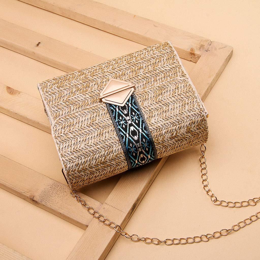 HLD strandväska halmväska damväska kedja liten fyrkantig väska enkla vilda messengerväskor (färg: A) a