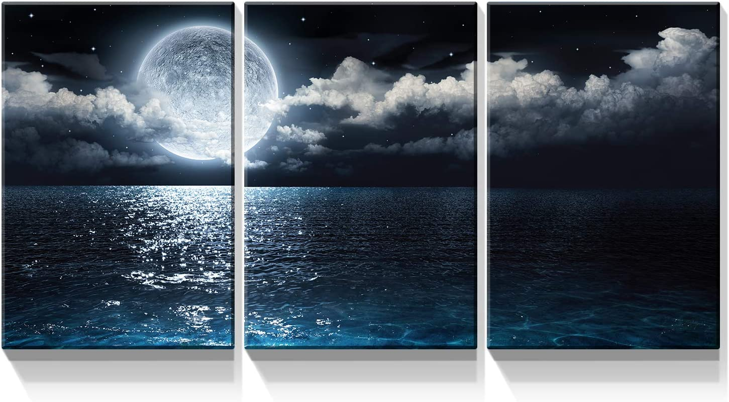 Denozer - 3 Piece Canvas Wall Art - Blue Ocean Under Moonlight Calmful Heart Painting Artwork for Home Prints Stretched and Framed Ready to Hang - 16