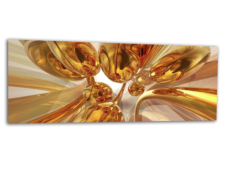 KD Dsign+ XXL Glasbild AG312500285 MURAL BUBBLES GOLD 125 x 50 cm/WANDBILD Deco Glass/Handmade
