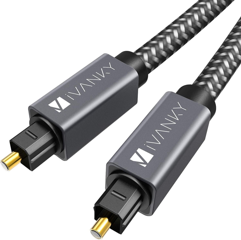 iVANKY Cable Óptico de Audio Digital 1,8 m (Audio Impecable, Conexión Estable, Nylon Trenzado) Cable Digital Audio Compatible con Barra de Sonido, TV, PS4, Xbox, Samsung, Vizio - 6ft, Gris