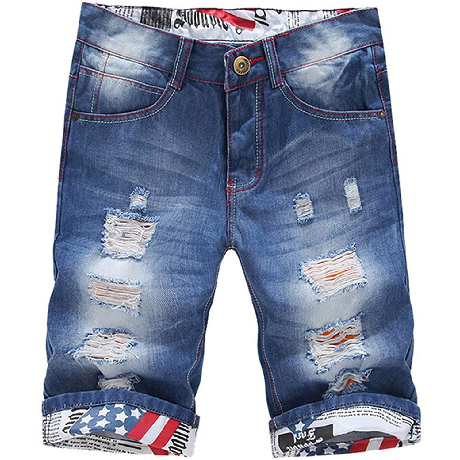 ClothingLoves Men's Denim Ripped Mid Waist Plus Size Bleached ...