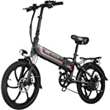 ANCHEER Folding Electric Bike Ebike, 20'' Electric Commuter Bicycle with 10.4AH Removable Lithium-Ion Battery, 48V 350W Motor