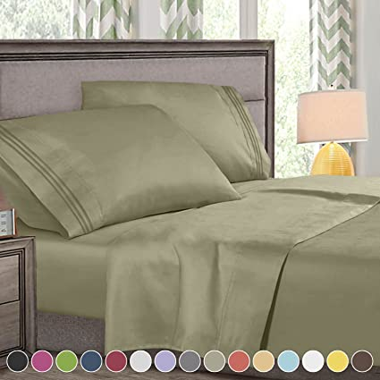 Amazoncom Queen Size Bed Sheets Set Sage Green Highest Quality
