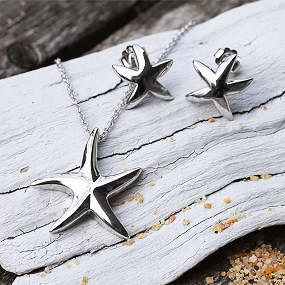 Eves Addiction Sterling Silver Starfish Necklace and Earrings Set