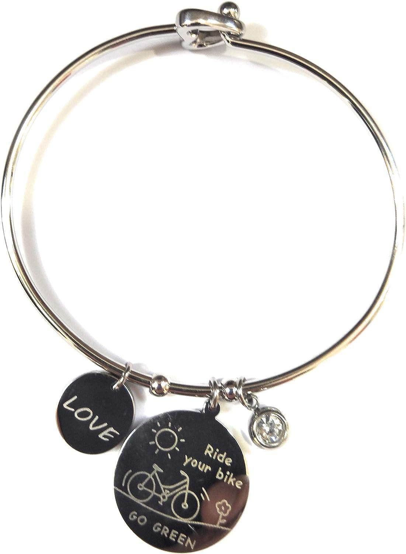 pulsera para mujer de acero rígido con símbolo Bicicleta.hecho A ...
