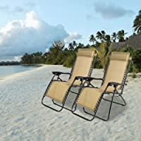 2-Pcs. Partysaving Lounge Patio Folding Reclining Chair (Tan)