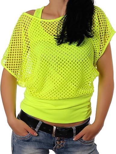 Crazy Age - Camiseta de verano para mujer, en diseño de red, a la moda, para verano, fiestas, en colores neón amarillo neón S-M: Amazon.es: Ropa y accesorios
