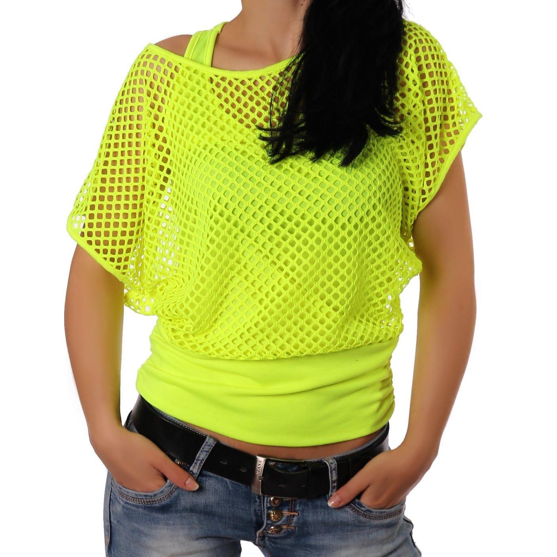 Crazy Age Frauen Partytop Sommertop Fasching Fest Netzoberteil aktueller Trend in Neonfarben D252