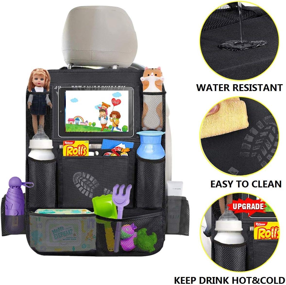 Vine Asiento trasero del coche Organizador Multi-bolsillos para el beb/é Bolsas de pantalla t/áctil para Ipad Ni/ños Viajes Organizador ordenado