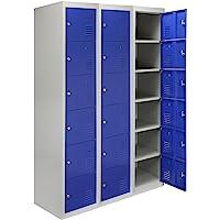 MonsterShop - 3 Taquillas para Ensamblar con 6 Puertas Azules de Acero 45cm x 114cm x 180cm para Escuelas, Gimnasios y…