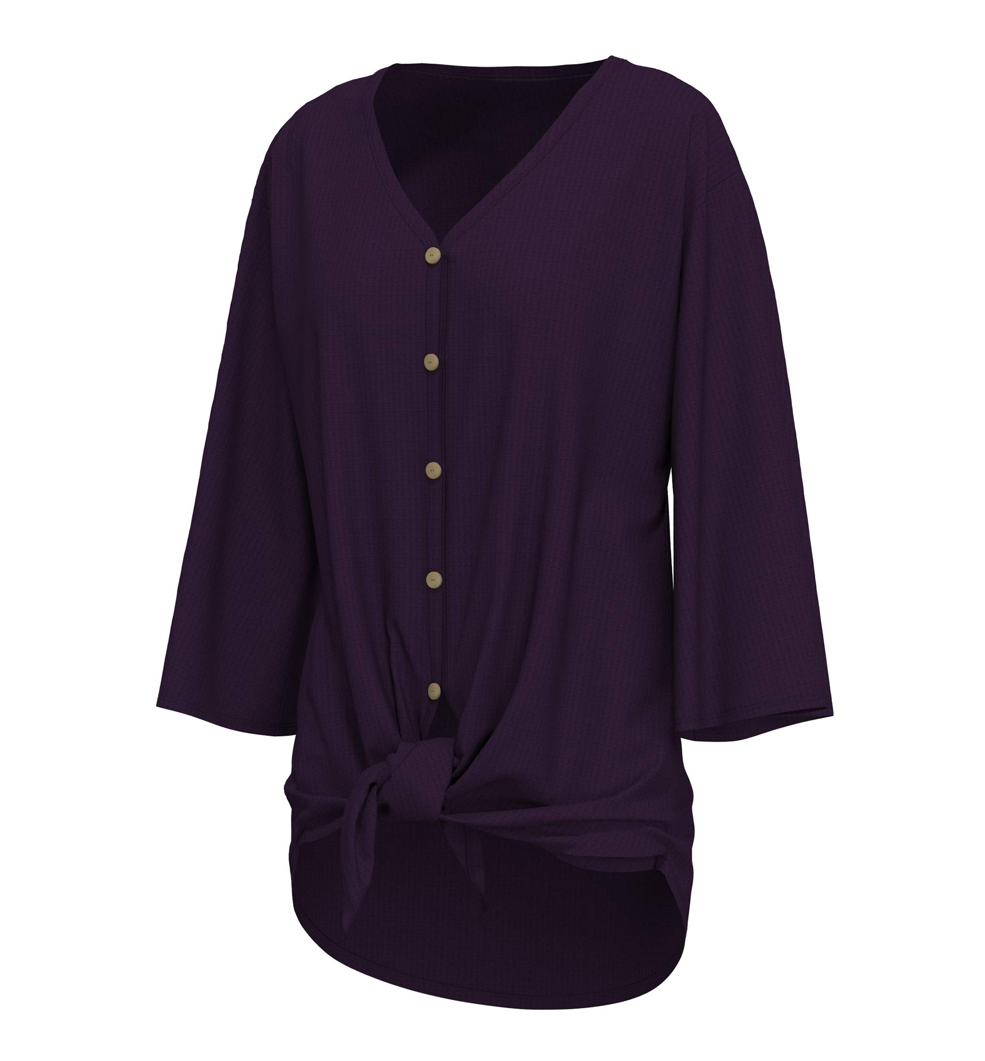 cokuco P1033 Womens Waffle Knit Tie Knot Front Loose Fit Casual Top Eggplant Large
