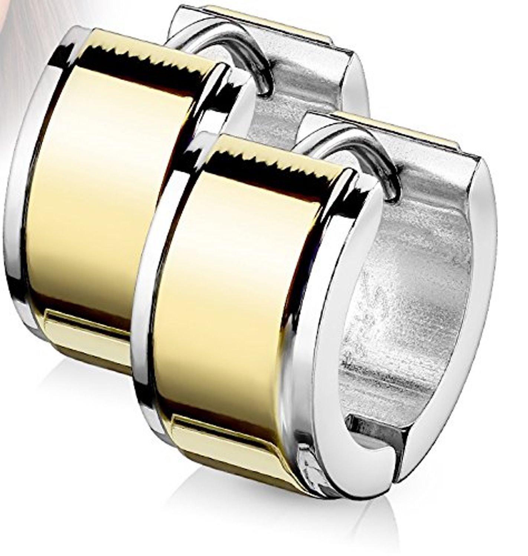 14MM Hoop Earrings Surgical Stainless Steel Hinged Hoop Earring with Plate Center Layer Rhodium Plated Earrings For Men Women Huggie Hypoallergenic Hoop Earrings (7 MM W Yellow Gold Plated)