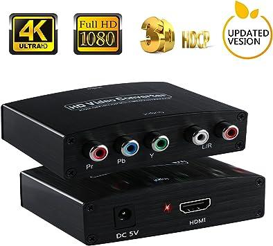 HDMI a YPbPr Componente | 4 K HDMI a RGB adaptador convertidor con fuente de alimentación