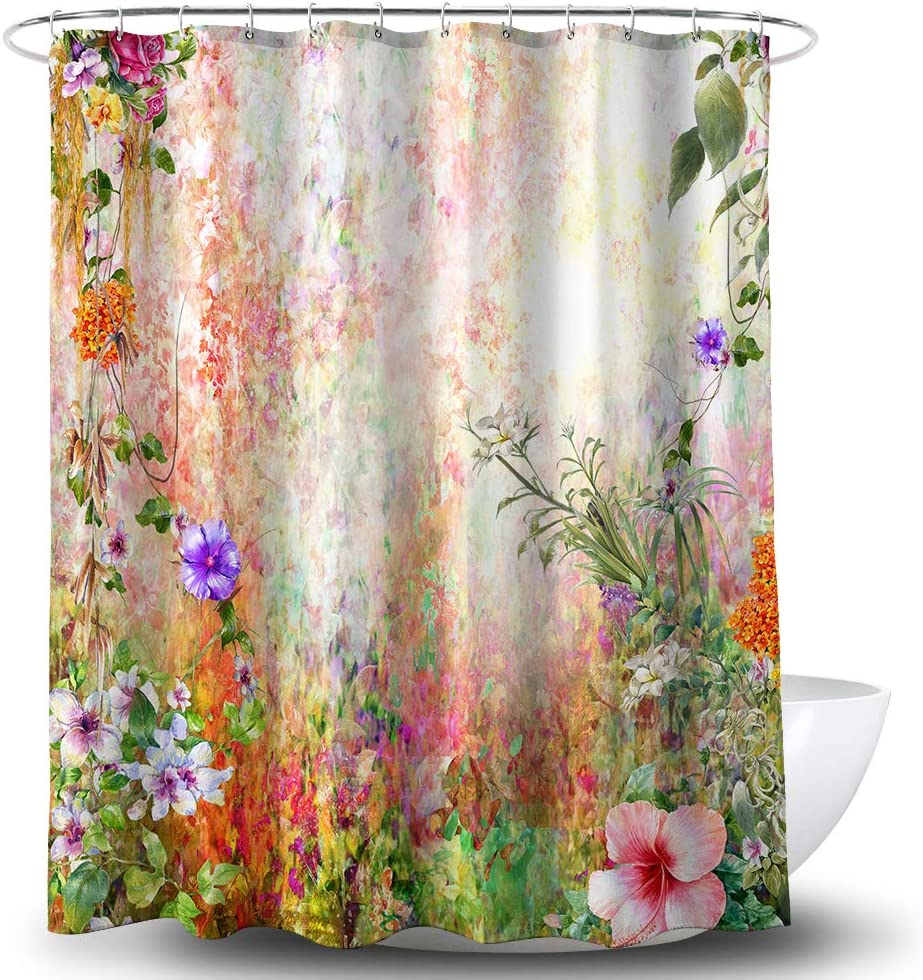 BECAN Flower Shower Curtain Watercolor Wildflower Dandelion in Floral Meadow Floral Garden Polyester Fabric Waterproof Layer Thickening Shower Curtain 72X72Inches