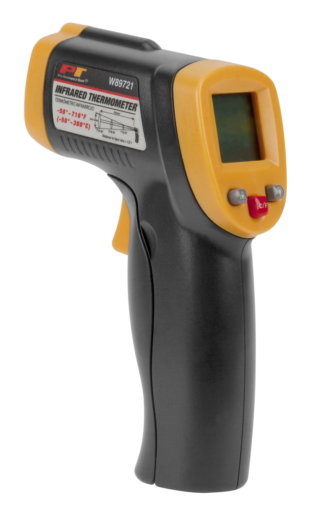 Performance Tool W89721 Non-Contact Digital Laser Infrared Thermometer, Orange and Black With 12:1 Spot Ratio