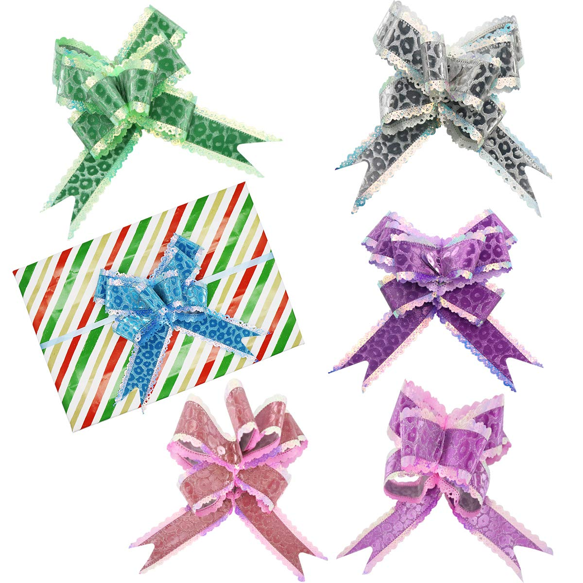 24 Pcs 5.9'' Pull Bows for Gift Wrapping,Christmas/Wedding/Valentine's Day/Present Decoration Pull Bows (B Style)