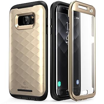 Clayco Carcasa Galaxy S7 Edge, [Hera Series] Funda Resistente con Protector de Pantalla Integrado para Samsung Galaxy S7 Edge (Dorado)