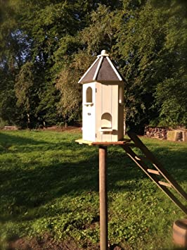 Antikas - casita para pájaros o palomas - casa comedor alimento - casita decoración jardín -